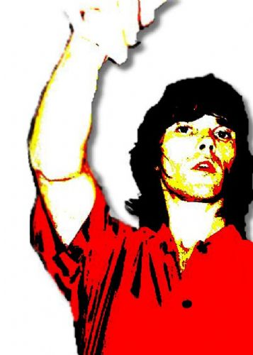 THE STONE ROSES - IAN BROWN - Red shirt canvas print - self adhesive poster - photo print